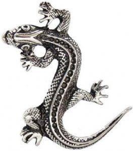 Silver Tone Spotty Lizard Brooch - Nickel Free